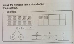 Subtraction decomposing example 1 - Math in Focus