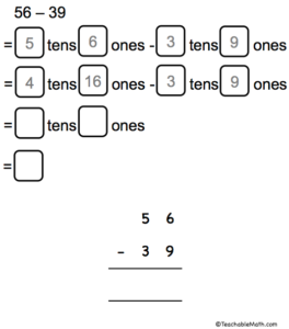 Subtract connecting place value with standard algorithm