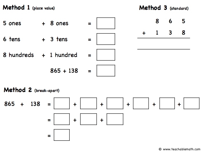 Singapore Math Addition Strategies