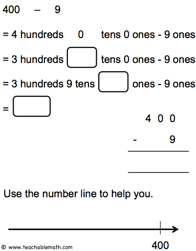math worksheet : teaching addition and subtraction for numbers to 1000 : Subtraction Across Zero Worksheets