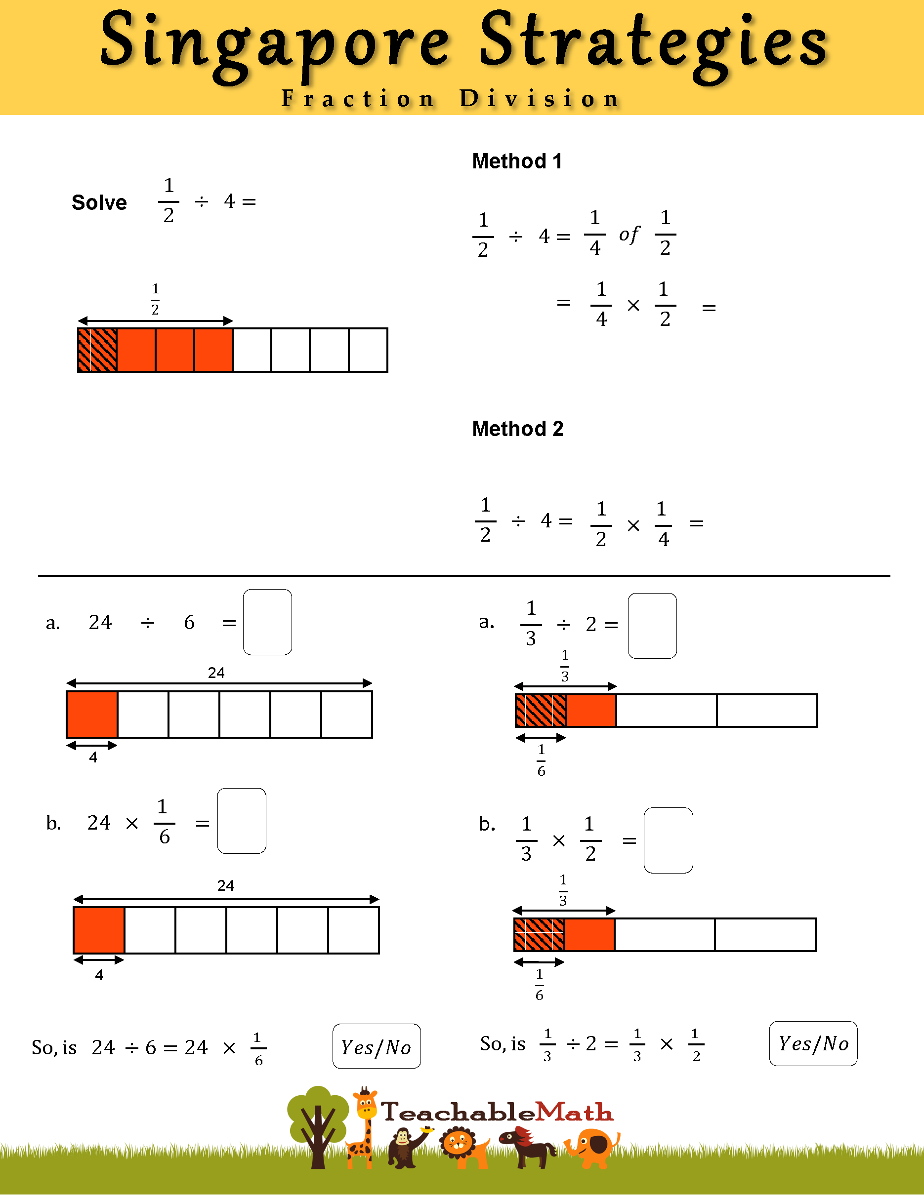 Singapore Strategies Fraction Division Sheet