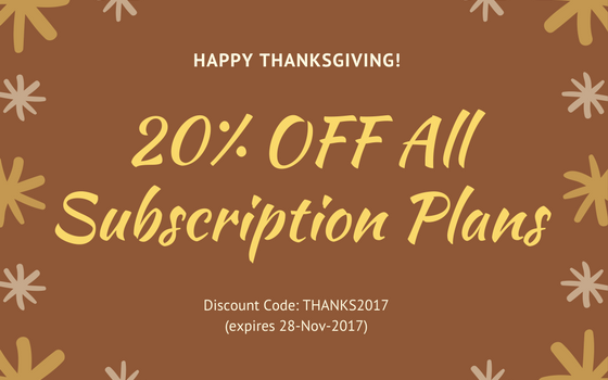 Black Friday Sale – 20% OFF all Subscription Plans 2017