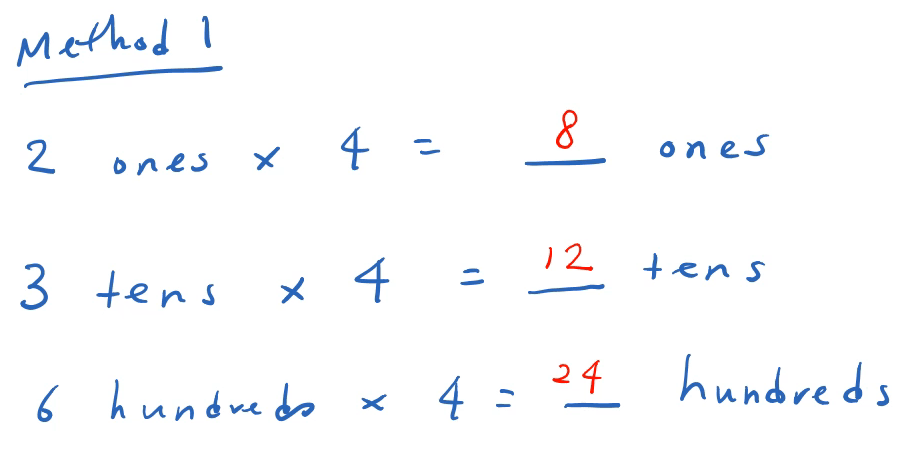 multiplication using place values in a line by line format