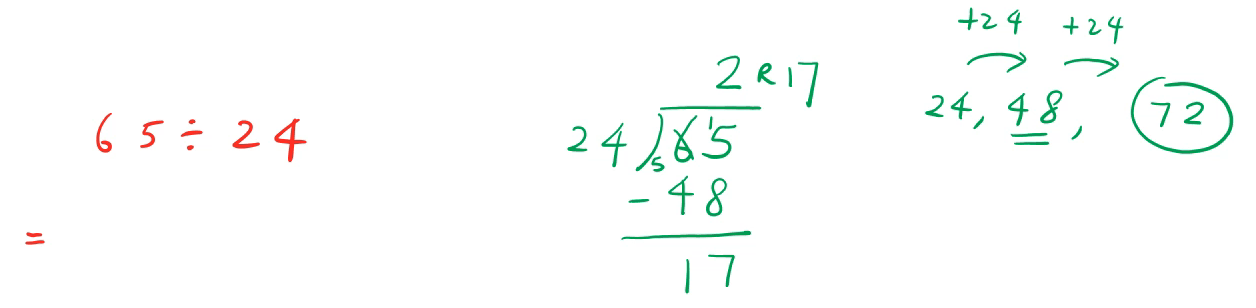 dividing 2-digit numbers by 2-digit numbers