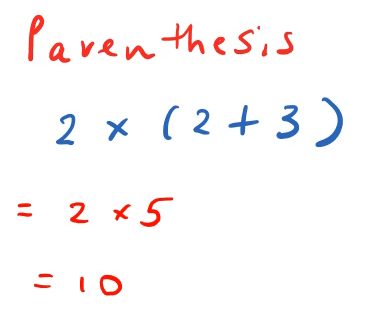 order of operations left to right parenthesis