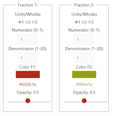 Fraction Multiplication Area Model App - Fraction value control areas